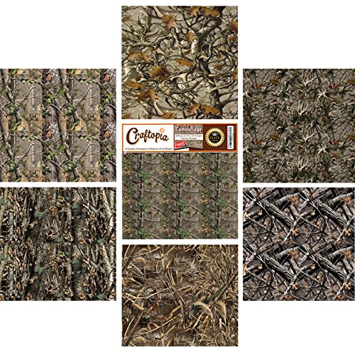 NEW Real Camouflage Premium Self Adhesive Assorted Vinyl Sheets (6+1