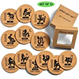 """MultiExpression 12 Pcs Natural Cork Coasters Set - Coasters for Drinks Fun 4"""" Round Chinese Zodiac Premium Gift Box Holder Absorbent Drink Coasters Eco Friendly Heat & Water Resistant Bar Glass Cup"""