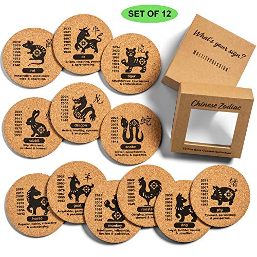 MultiExpression 12 Pcs Cork Coasters Set  Chinese Zodiac Cork Coasters for Drinks Bar Coasters Outdoor Coasters Coasters Cork Cup Coaster Bamboo Coaster 4quot Round