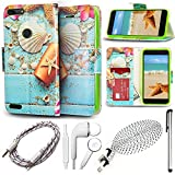 zte blade 6 case - QCO WIRELESS Rugged Shock Proof Case + 6ft USB Cable + Aux + In-Ear Stereo Headset & Stylus Pen Kit for ZTE Blade (5 Item Bundle-Seashells-Wallet)