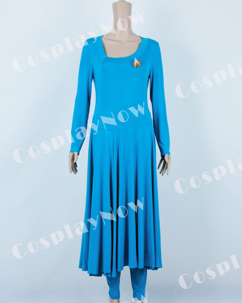 CosplayNow Star Trek Deanna Troi Cosplay Costume Dress Blue Custom Made by CosplayNow (Image #2)