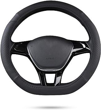 Ergocar Sport D Form Auto Lenkradbezug Rutschfester Auto Lenkradschutz Mikrofaser Pu Leder Für Durchmesser 38cm 15 D Schwarz Auto