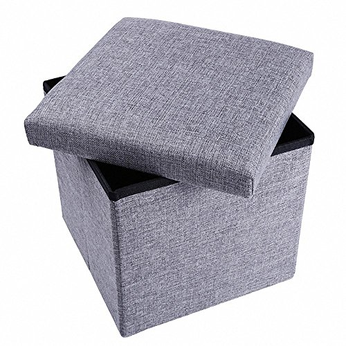 epeanhome Ottoman with Storage,Storage Ottoman Polyester Folding Stool,Collapsible Ottoman Cube,Foot Rest Seat,Clutter Toys Collection 12''/gray by epeanhome