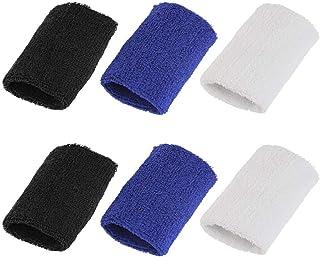 BUZIFU 6 Pièces Serre-Poignets Bracelets Poignet,Bandeau de Transpiration en Coton,Bandes de Poignets pour Le Tennis Squash Badminton Gym Jogging Basketball Fonctionnement(3 Couleurs) .