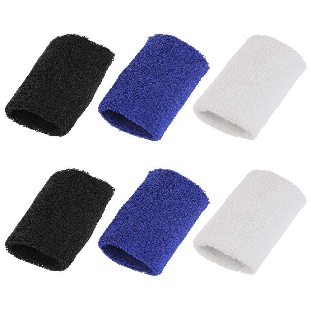 BUZIFU 6 Pièces Serre-Poignets Bracelets Poignet,Bandeau de Transpiration en Coton,Bandes de Poignets pour Le Tennis Squash Badminton Gym Jogging Basketball Fonctionnement(3 Couleurs)