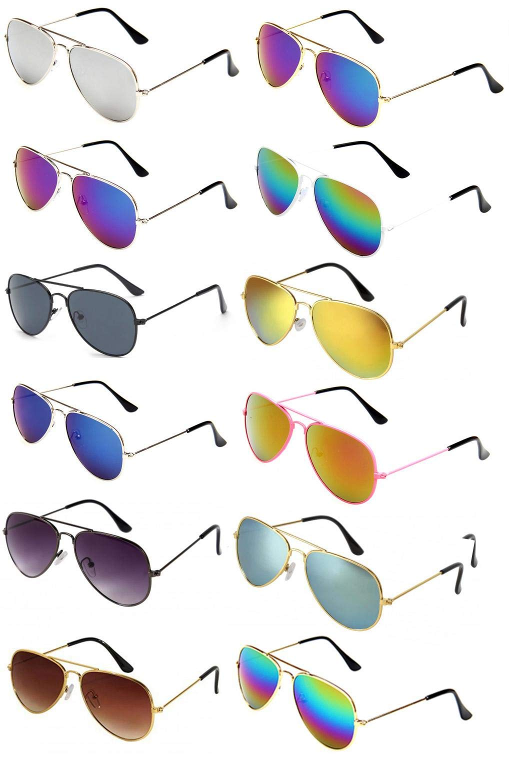 WODISON Classic Kids Aviator Sunglasses Bulk Metal Frame Children Party Eyeglasses 12 Packs