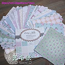 "Toonol DIY Photo Album Photo Scrapbooking Linen Papers with Vintage Charm 6"" x 6"" Single Side Printed 32pcs/Set"