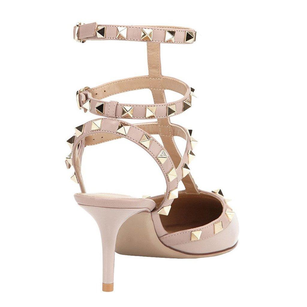 EKS , Damen  Damen , Sandalen mit Nieten Apricot-patent e13d80