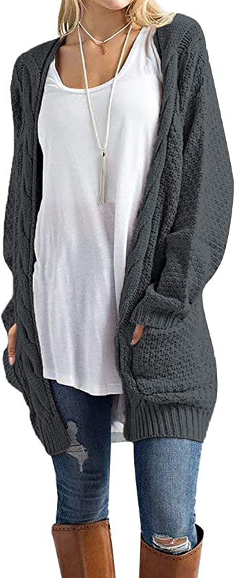 Bibowa Womens Long Lounge Sweater Drape Open Asymmetrical Cardigan with Pockets