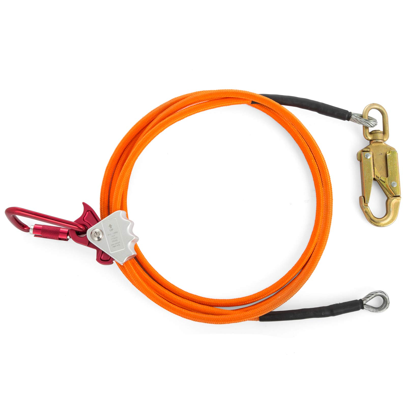 Happybuy Steel Wire Core Flip Line Kit 1/2'' X 8' Wire Core Flipline with Triple Lock Carabiner and Steel Swivel Snap Wire Core Flipline System for Arborists Climbers Tree Climbers (1/2'' X 8') by Happybuy (Image #2)