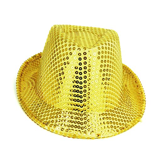 Pack Of 24 - 27cm x 14cm Gold Sequin Trilby Hats - Fancy Dress - Stag / Hen Night Accessories by Toyland