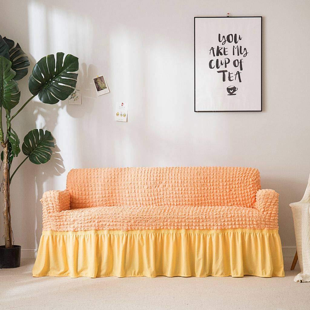 北欧 ストレッチ アンチ-SlipSofa カバー スリップカバー セット ソファ プロテクター, ラブシート 家具 スリップ カバー/プロテクター.-オレンジ色-300×230センチメートル(118×91インチ)   B07PKC1M8Y