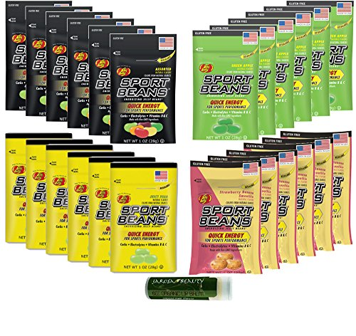 SPORT BEANS Jelly Belly Variety 1 oz (28g) - Assorted, Green Apple, Juicy Pear & Strawberry Banana - Pack of 24 (6 Packs of Each Flavor) Naturally Flavored with a Jarosa Peppermint Lip Balm (Boxed)