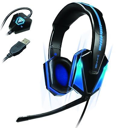 Verbessern Blau LED PC Gaming Headset gx-h1 mit Upgraded Virtual 7.1 Surround Sound und Verstellbarem Mikrofon – Funktioniert