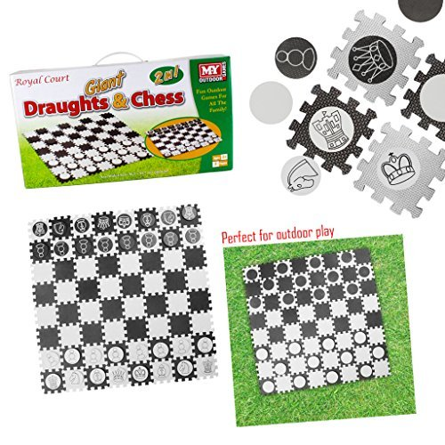2-IN-1 GIANT DRAUGHTS CHESS GARDEN LAWN GAMES FAMILY FUN INDOOR OUTDOOR PLAY MAT by Guaranteed4Less by Toyland