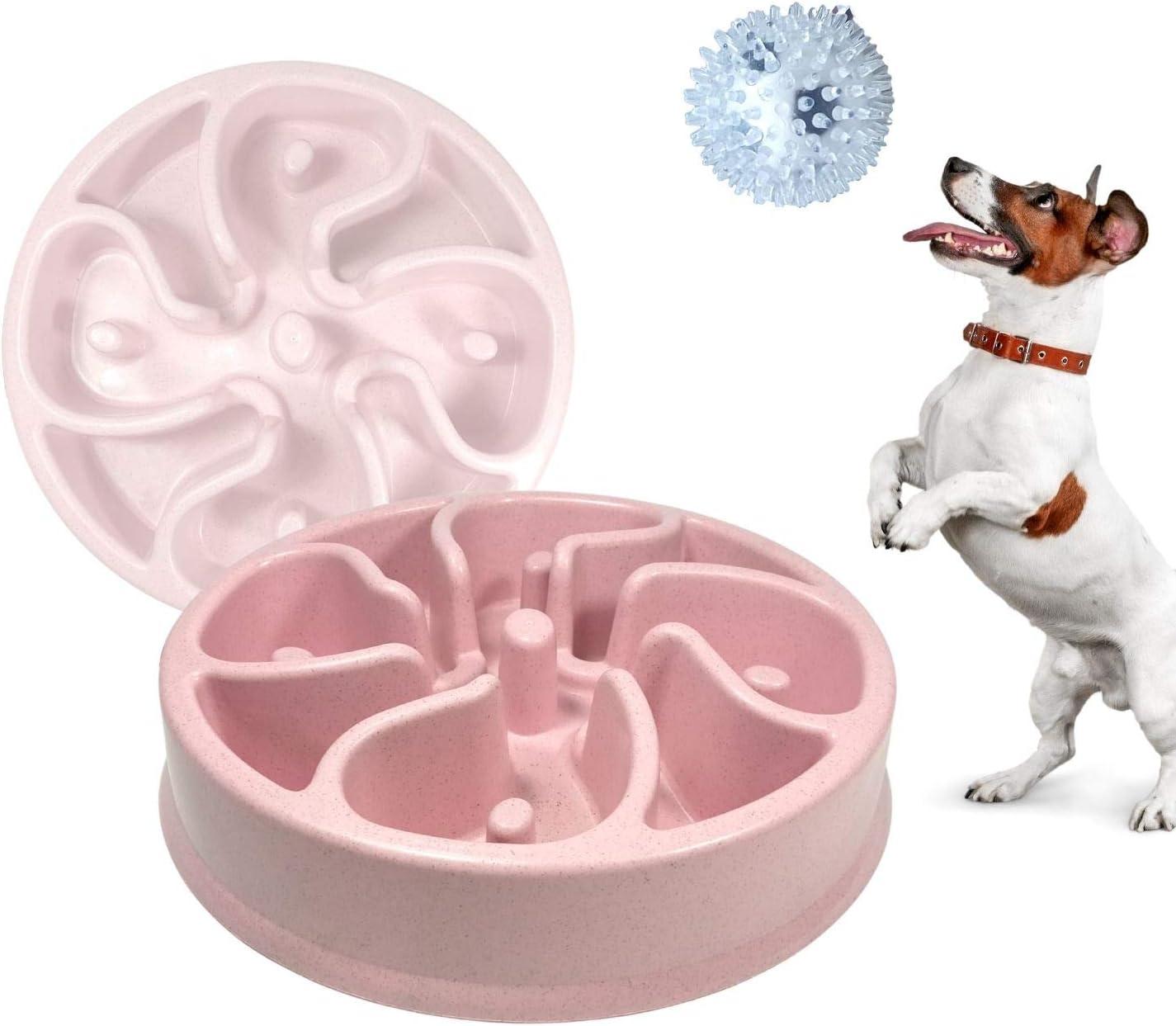 Pack»1 Comedero Antivoracidad Lento Para Perros Ansiosos, Plato divertido e interactivo para cachorros y razas pequeñas Medianas + Juguete Pelota bola con pinchos interactiva.(ROSA, PELOTA ANTIESTRES)