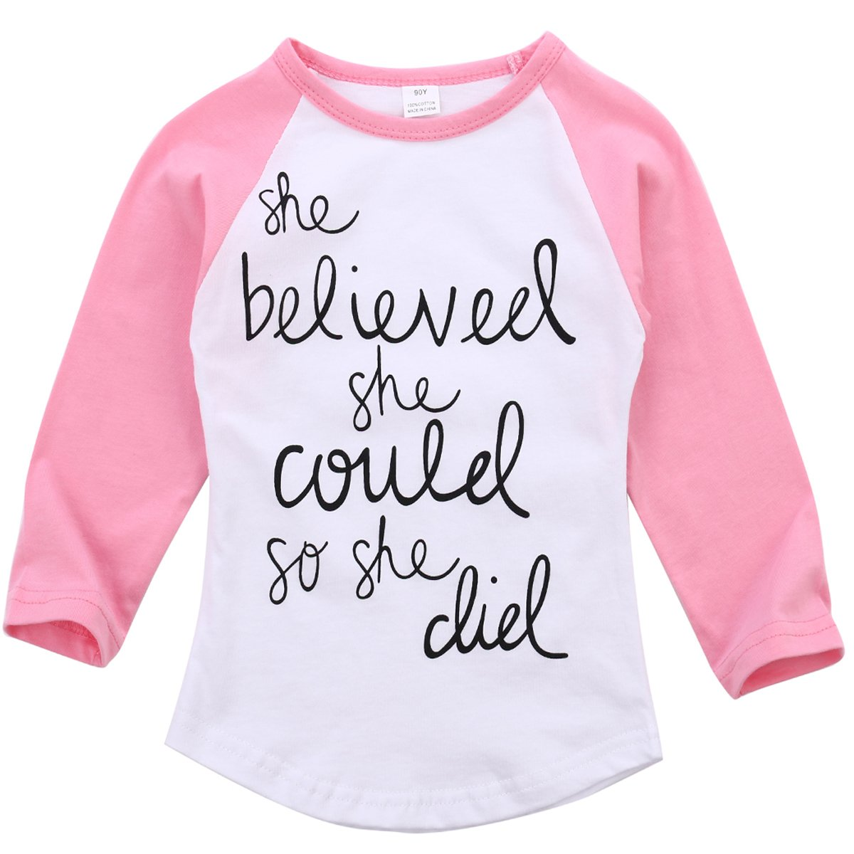 Fashion Baby Girls Letter Printing Long Sleeve T-Shirt Clothes Pullover Top