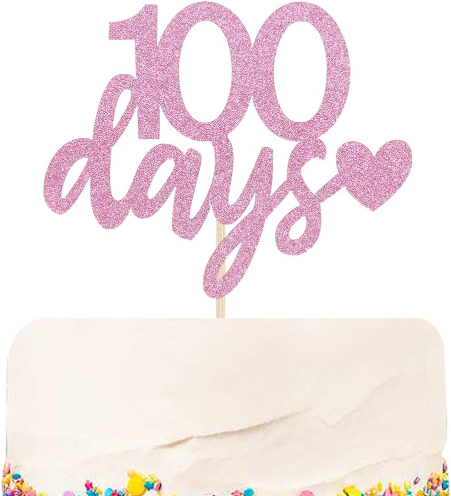 Halodete Glitter 100 Days Cake Topper Baby Girl 100 Days Birthday Cake Topper Anniversary Birthday Baby Shower Party Cake Decoration Pink
