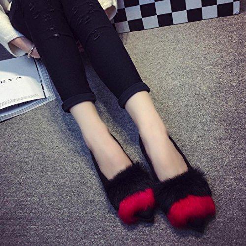 Simpatici Slip Facili Sulle Scarpe Basse Autunnali - Scarpe Basse Alla Moda In Eco-pelliccia - Scarpe Singole Morbide Con Scivolo Sfocato Comfort Scarpe Rosse