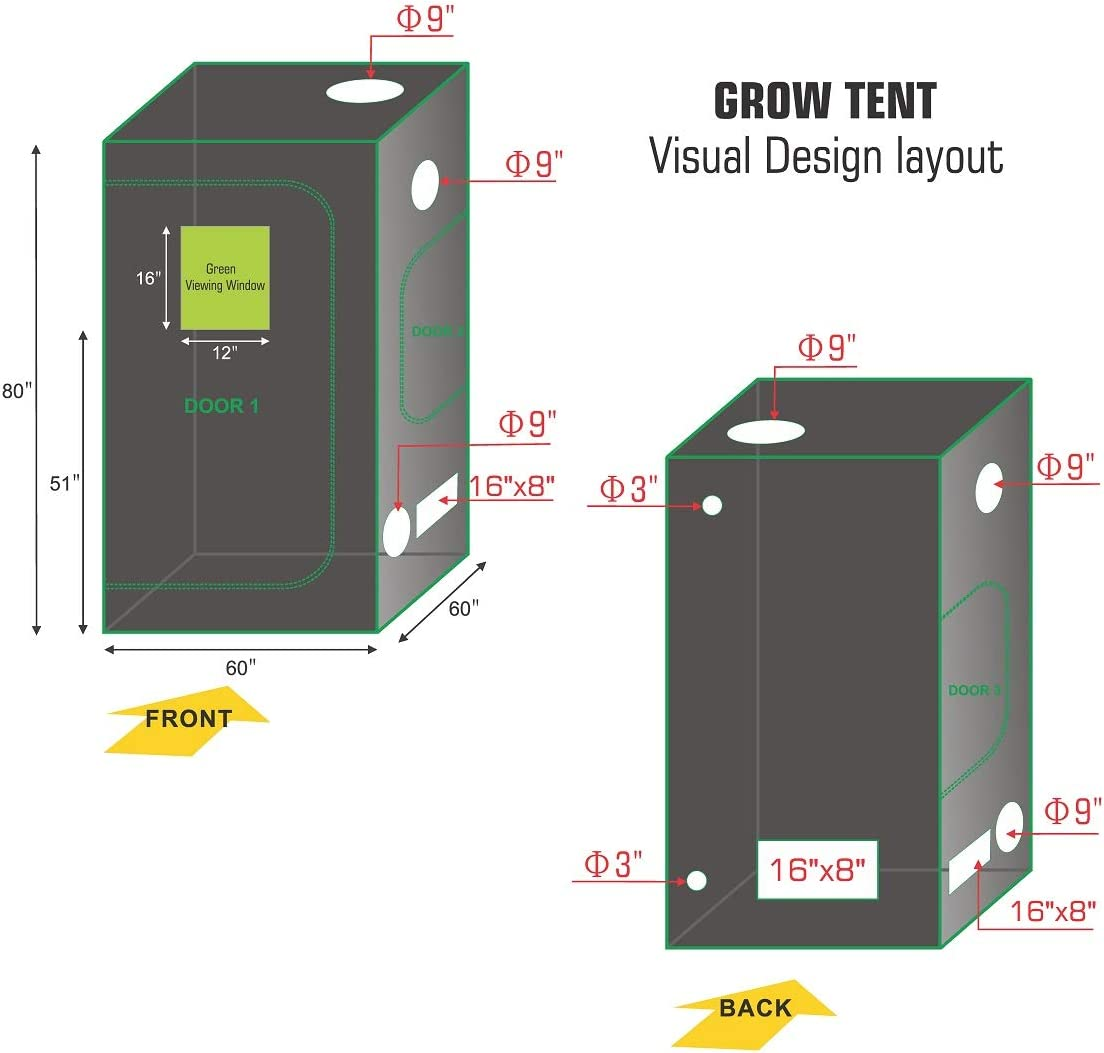 Hydro Plus Grow Tent 60 x60 x80 w Observation Window Reflective Mylar Hydroponics Indoor Plants Growing Dark Room Non Toxic Hut 60 x60 x80 w Window