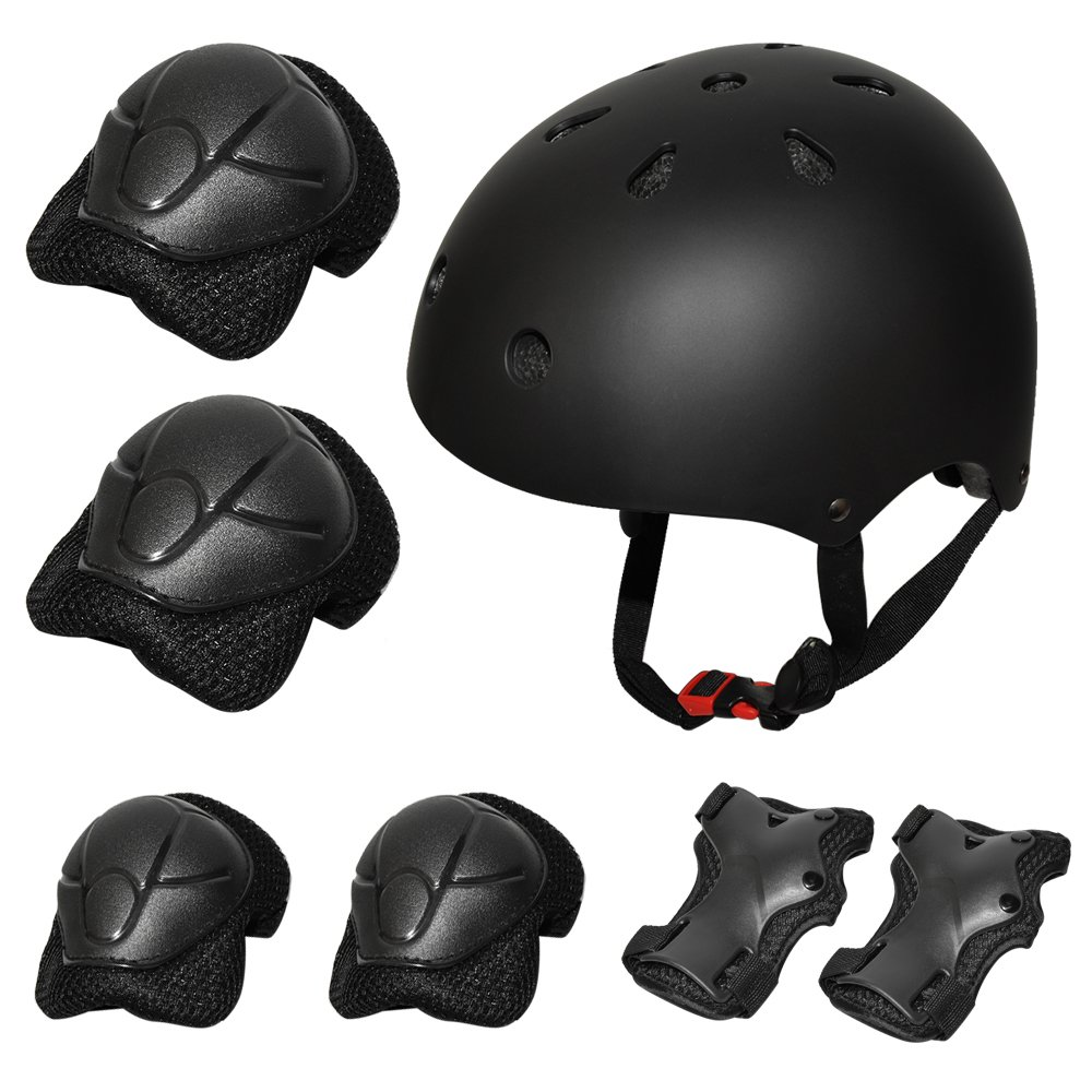Kiwivalley 7 Pieces Kids Outdoor Sports Protective Gear Set,Kids Safety Helmet,Knee & Elbow Pads,Wrist Guards for Tricycle Roller Skating Skating Cycling(3-7 Years Old) (Black)