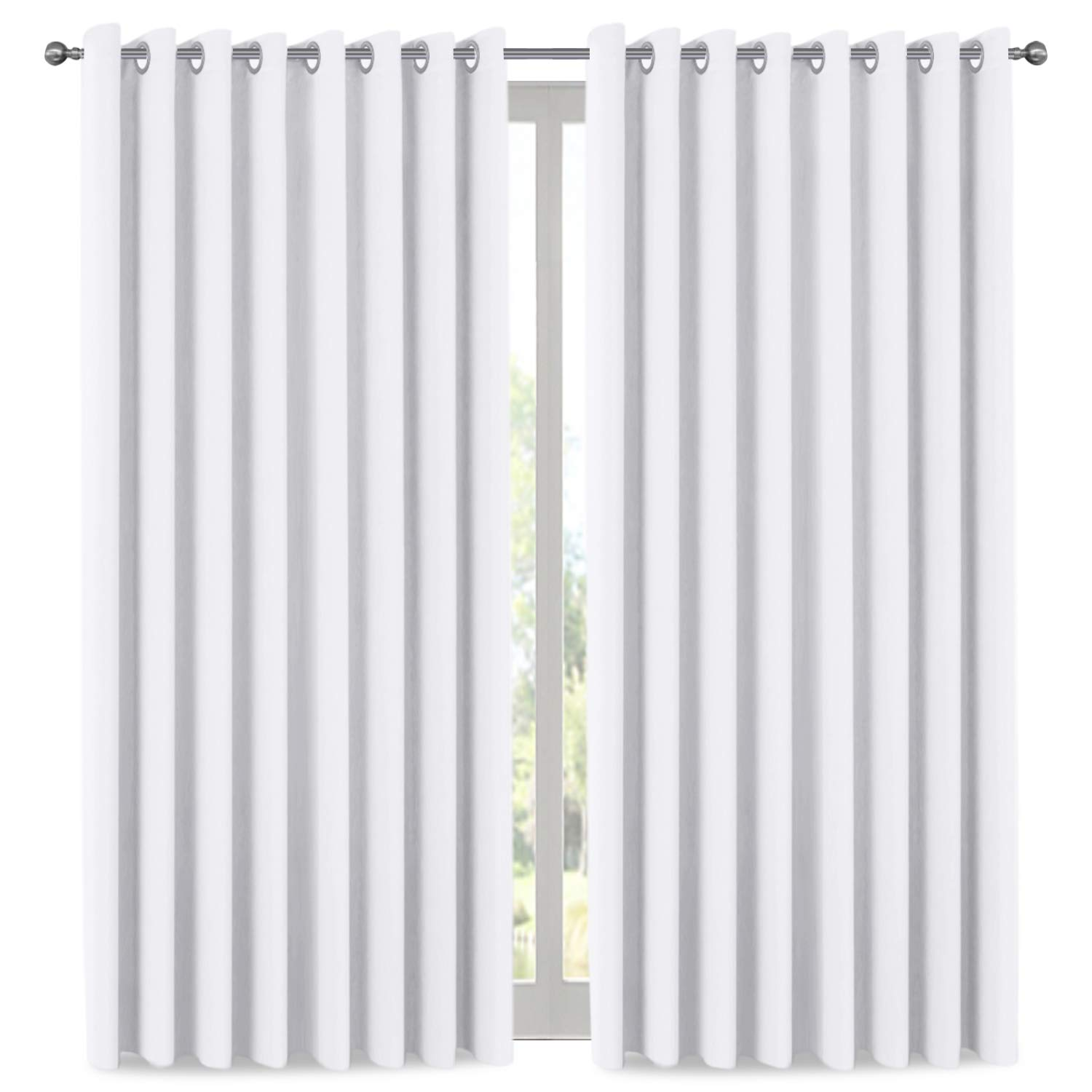 H.VERSAILTEX White Curtain Thermal Insulated Extra Long Panel/Drapes (100'' W x 108'' L), Premium Total Privacy Room Divider Curtain (9ft Tall by 8.5ft Wide)