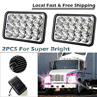 """For FREIGHTLINER FLD120 112 FLD LED Headlight 4X6"""" Rectangle Sealed Beam High Low 3750Lm/1500Lm H4651 H4652 H4656 H4666 H6545 Replacement 6000K White - 2 Year Warranty"""