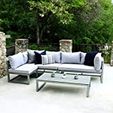 WE Furniture All Weather 4 Piece Patio Conversation Set, Grey