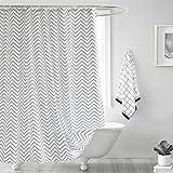 Fabric Shower Curtain, Seavish White Chevron Mildew Resistant Waterproof 72 x 78 inches Long Bathroom Shower Curtain Set with Hooks (White Chevron)
