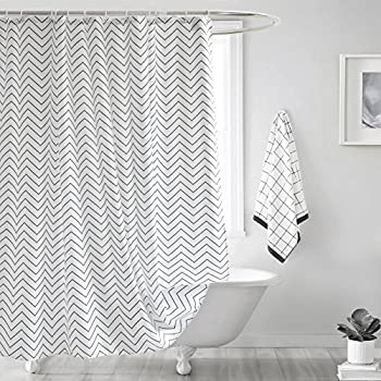 Fabric Shower Curtain Seavish White Chevron Mildew Resistant Waterproof 72 X 78 Inches Long Bathroom Set With Hooks