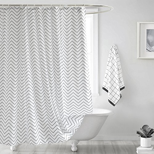 Ufelicity Home Shower Curtain White Background with Black Stripes Bathroom Curtain Durable, Heavy Duty Polyester Bath Curtain Waterproof with Hooks for Shower Stall, 60 x 72