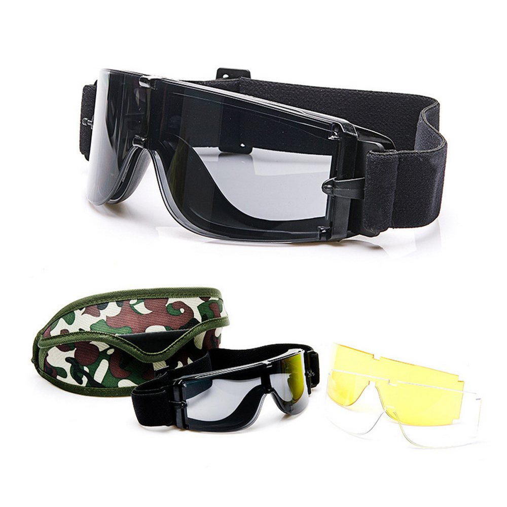 Men Ballistic X800 Army Safety Goggles 3 Lens Kit Military Sunglasses Night Vision Anit-UV Combat War Game Eyeshields with Case