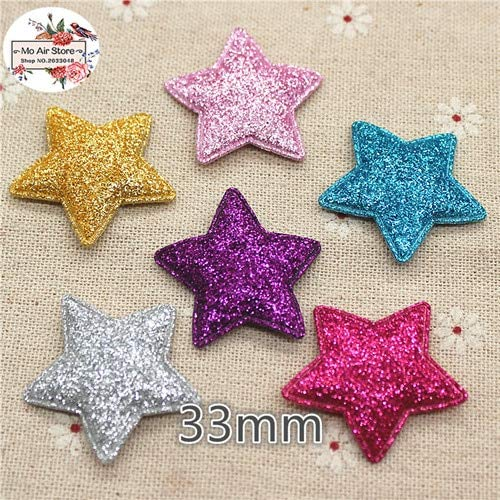 WANCHEN 3.3m 20pcs Mix Color Star Non-Woven Patches Glitter Felt Appliques for Clothes Sewing Supplies DIY Craft Ornament