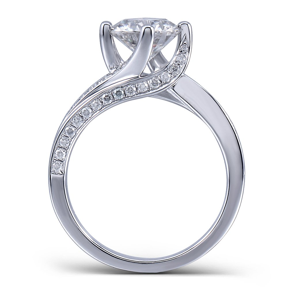 Center 1.5 Carat Color (H) Moissanite Stone Engagement Ring Solitare with Accents in 925 Silver for Women (7)