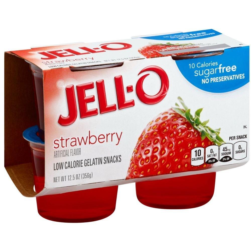 Jello Ready To Eat Sugar Free Strawberry Gelatin - 6 per pack -- 4 packs per case.