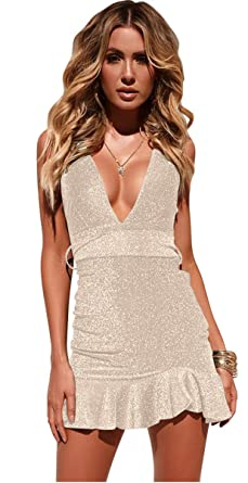 Longwu Women s Sexy Sparkly V Neck Sleeveless Party Clubwear Bandage  Nighting Out Dress Beige-M ae01223379db