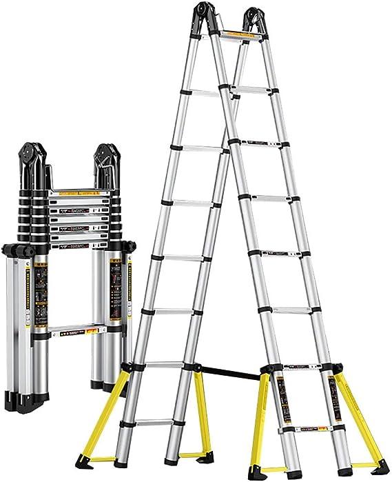Qiangmei Escaleras Plegables Aluminio Escalera Telescópica De 5.0 M, 12 Pasos Escalera Extensible Portátil De Aluminio Escalera For Uso En El Hogar Loft Carga Máxima 330 LB (150 Kg) Taburete es: Amazon.es: Hogar