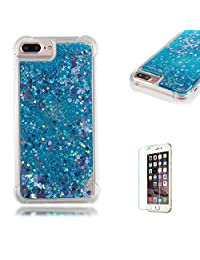 Funyye Liquid Quicksand Case for iPhone 7 Plus/8 Plus,Sparkly Flowing Glitter Blue Love Hearts TPU Case for iPhone 7 Plus/8 Plus,Slim Soft Rubber Flexible Clear Protective Silicone Case for iPhone 7 Plus/8 Plus 5.5 inch + 1 x Free Screen Protector