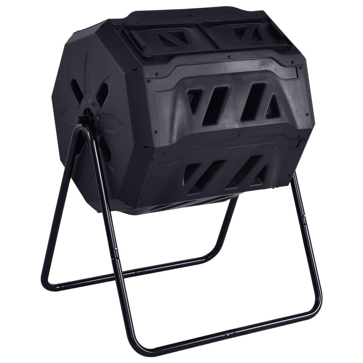 Black 42 Gallon Compost Tumbler Garden Waste Bin w/ Adjustable Air Vents