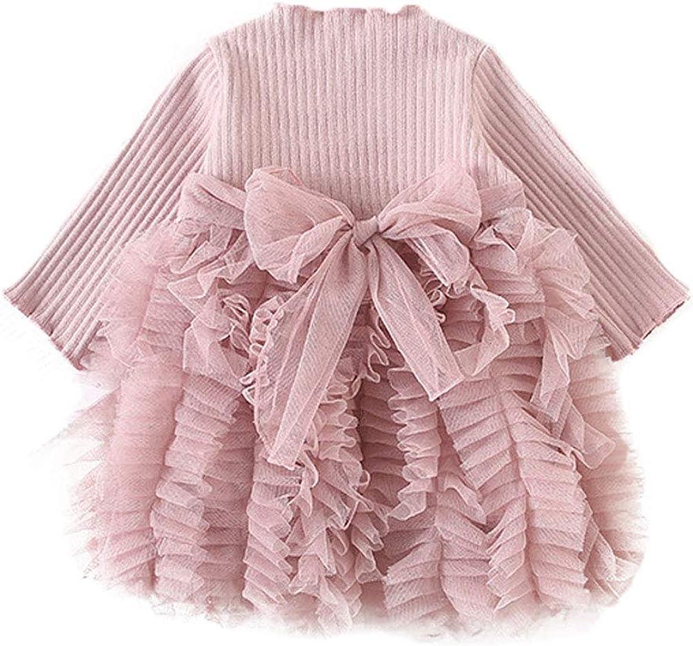 Carolilly Vestito Bambina Invernale Neonata Abito in Tulle Top Velluto Maglione a Manica Lunga Cerimonia Matrimonio