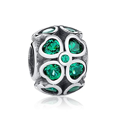 342b8490b Green Lucky Clover Charm 925 Sterling Silver Charms With Dark Green Cubic  Zirconia Fits Pandora, European Bracelets Compatible: Amazon.co.uk:  Jewellery