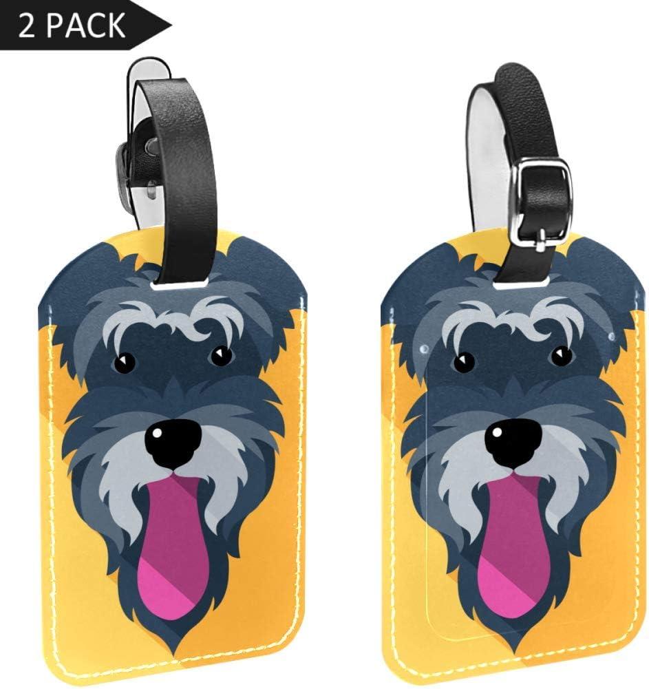 Etiquetas para Equipaje con Lengua de Perro y Cara de Piel para Maleta de Viaje, 2 Paquetes