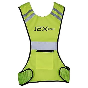 667fca1ab J2X Fitness Pro Hi Viz Reflective Running Cycling Vest Top  Amazon ...