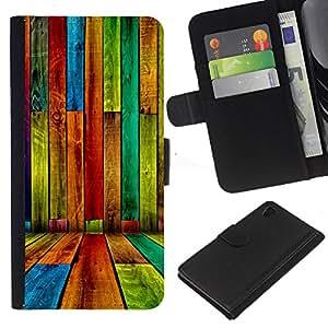 """JackGot ( Color madera - Patrón Grunge"""" ) Sony Xperia Z4v / Sony Xperia Z4 / E6508 la tarjeta de Crédito Slots PU Funda de cuero Monedero caso cubierta de piel"""