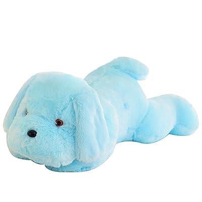 50cm 7-Colores Cambio LED nocturna peluche luz dibujos animados perro juguete niños año nuevo regalo de Navidad Azul: Juguetes y juegos