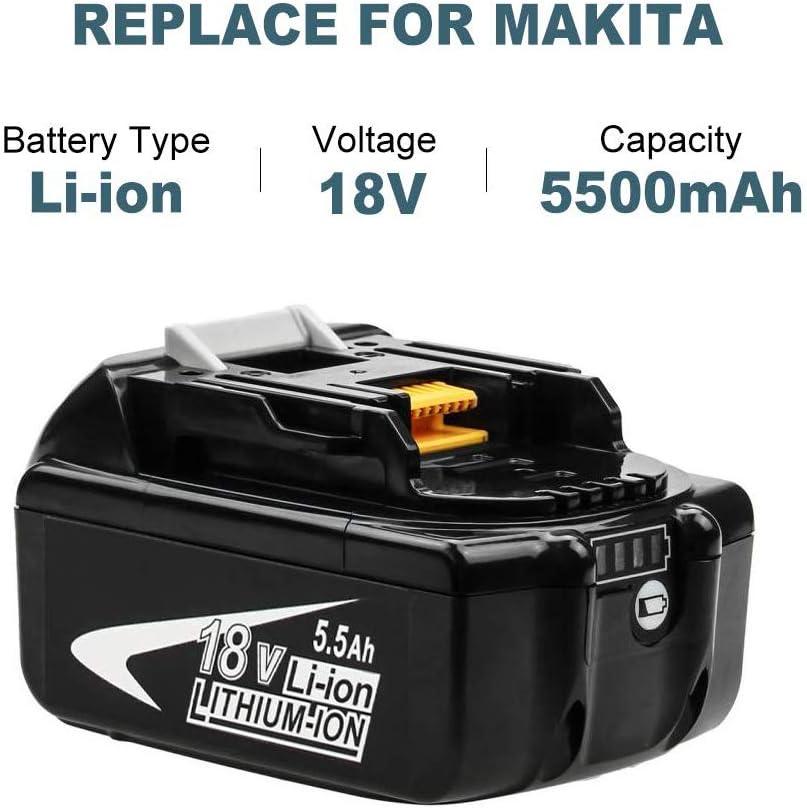 2X Hochstern Remplacement pour Makita batterie 18V 5.5Ah Lithium-Ion BL1860B BL1850 BL1850B BL1830 BL1830B BL1840 BL1815 BL1825 BL1835 BL1845 LXT400
