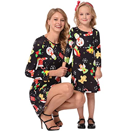 0a14a390c88 Amazon.com   Franterd Christmas Mommy & Me Dress Xmas Ugly Print ...