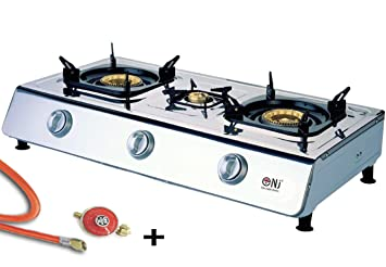 NJ NGB-100 Portable Gas Stove 1 Burner Wok Stainless Steel Piezo Camping Outdoor