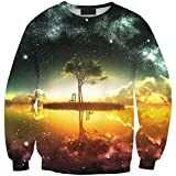 Girl's Printed Tree Under Starry Sky Sweatshirt Crew Neck Pullover Long Sleeve Slim Fit One Size