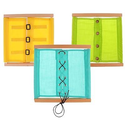 Sharplace 3pcs Cadre Frame Bois de Vêtement Montessori Jouets Educatifs Réveils pour Enfant Bébé s'Habiller Boutonner / Mettre Nœud / Laçage